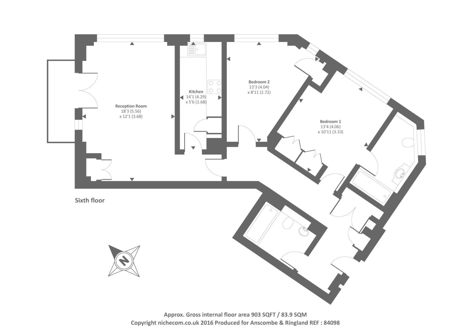 Blazer court st johns wood nw8 2 bedroom flat for sale for 11 brunel crt floor plan