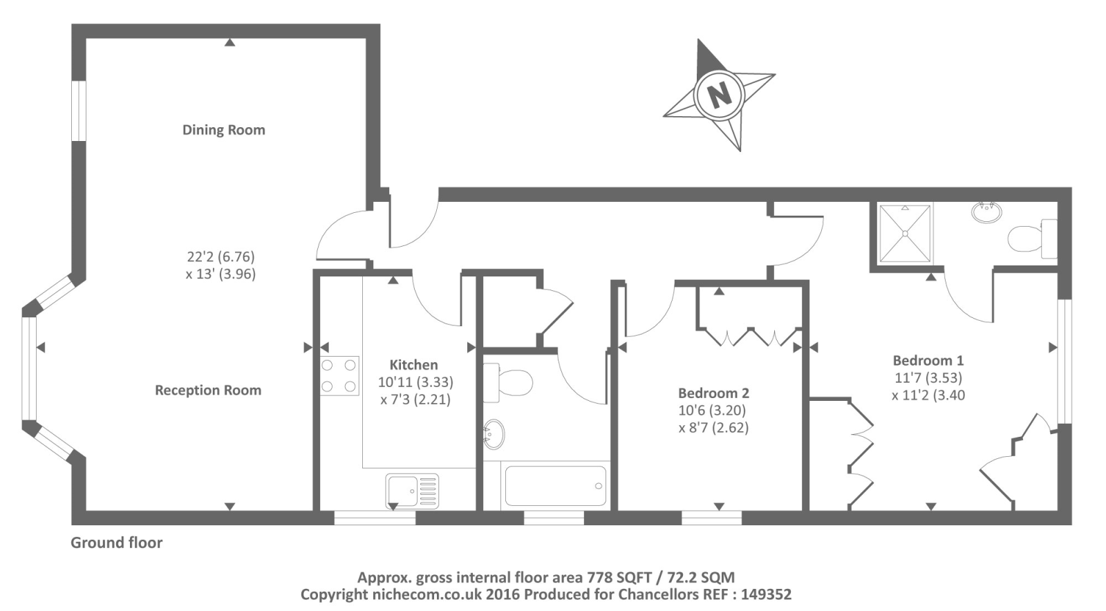 Southcote road reading rg30 2 bedroom flat for sale for Reading a floor plan