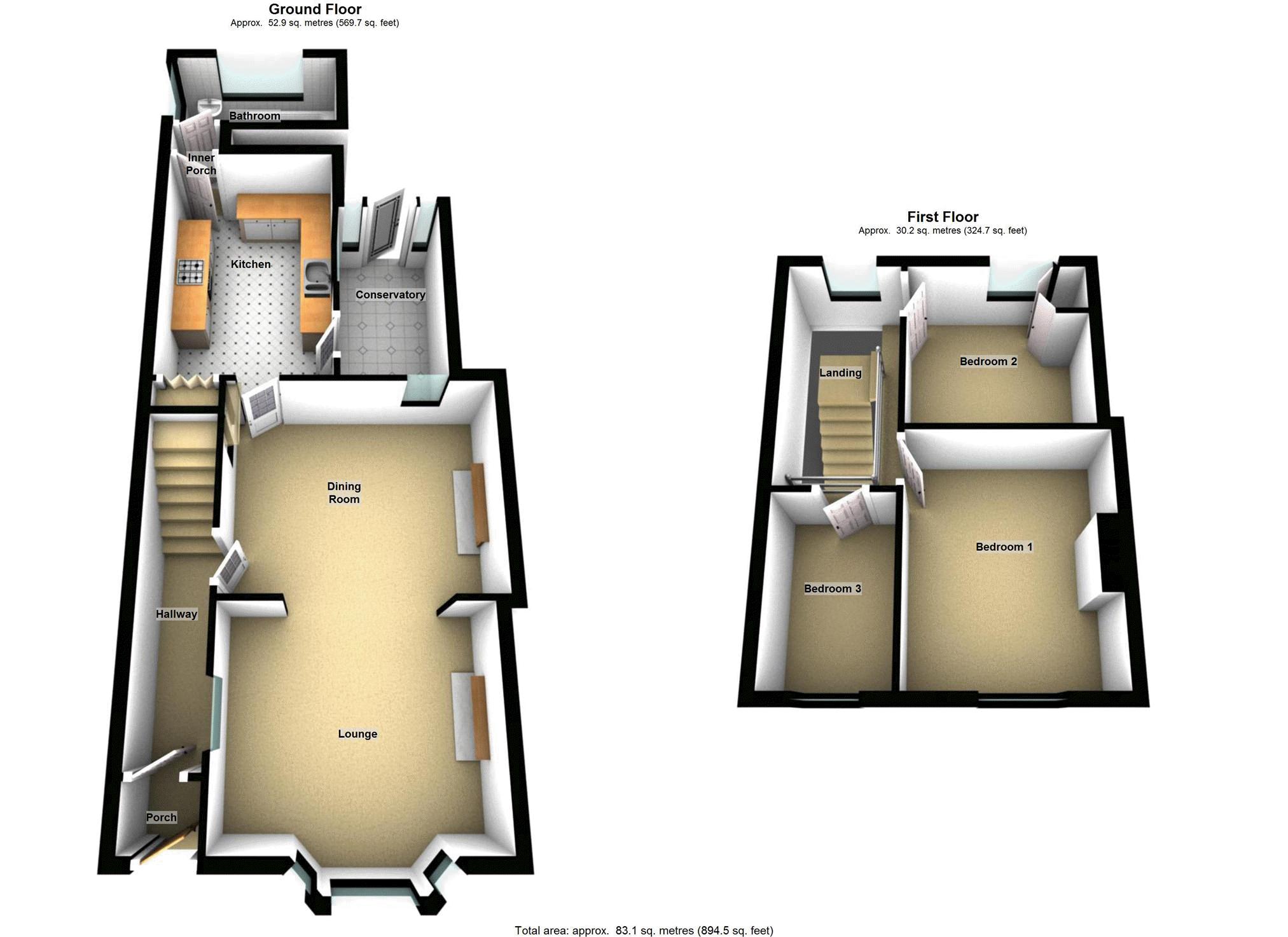 3 bed terraced house for sale in rosser street maes y for Q kitchen pontypridd