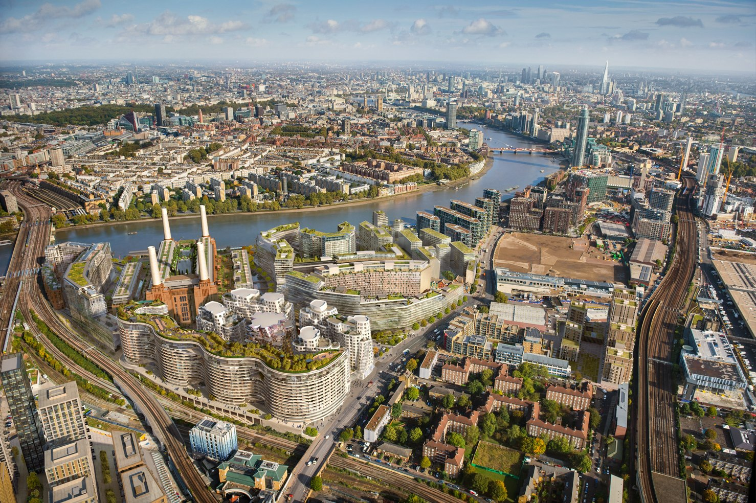 battersea power station,nine elms,Aerial