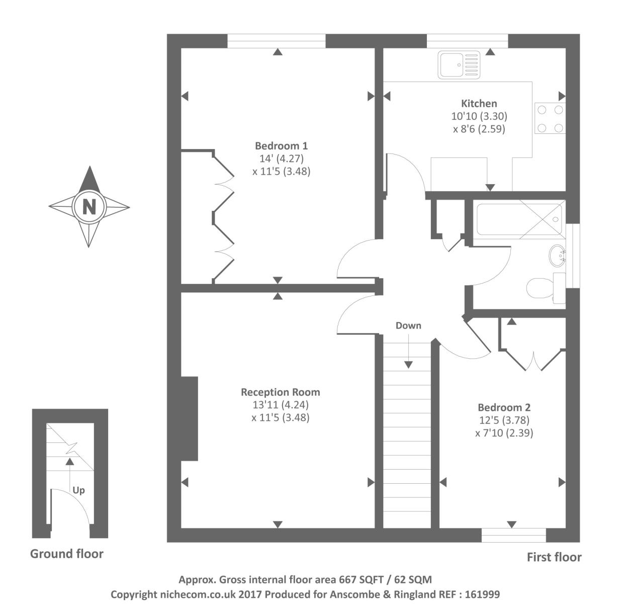 2 bedroom maisonette for sale 42829289 primelocation for Four bedroom maisonette plans