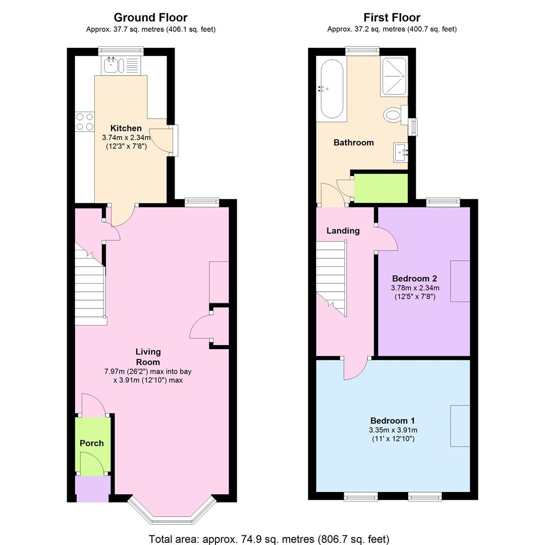 Belmont road reading rg30 2 bedroom terraced house for for Reading a floor plan