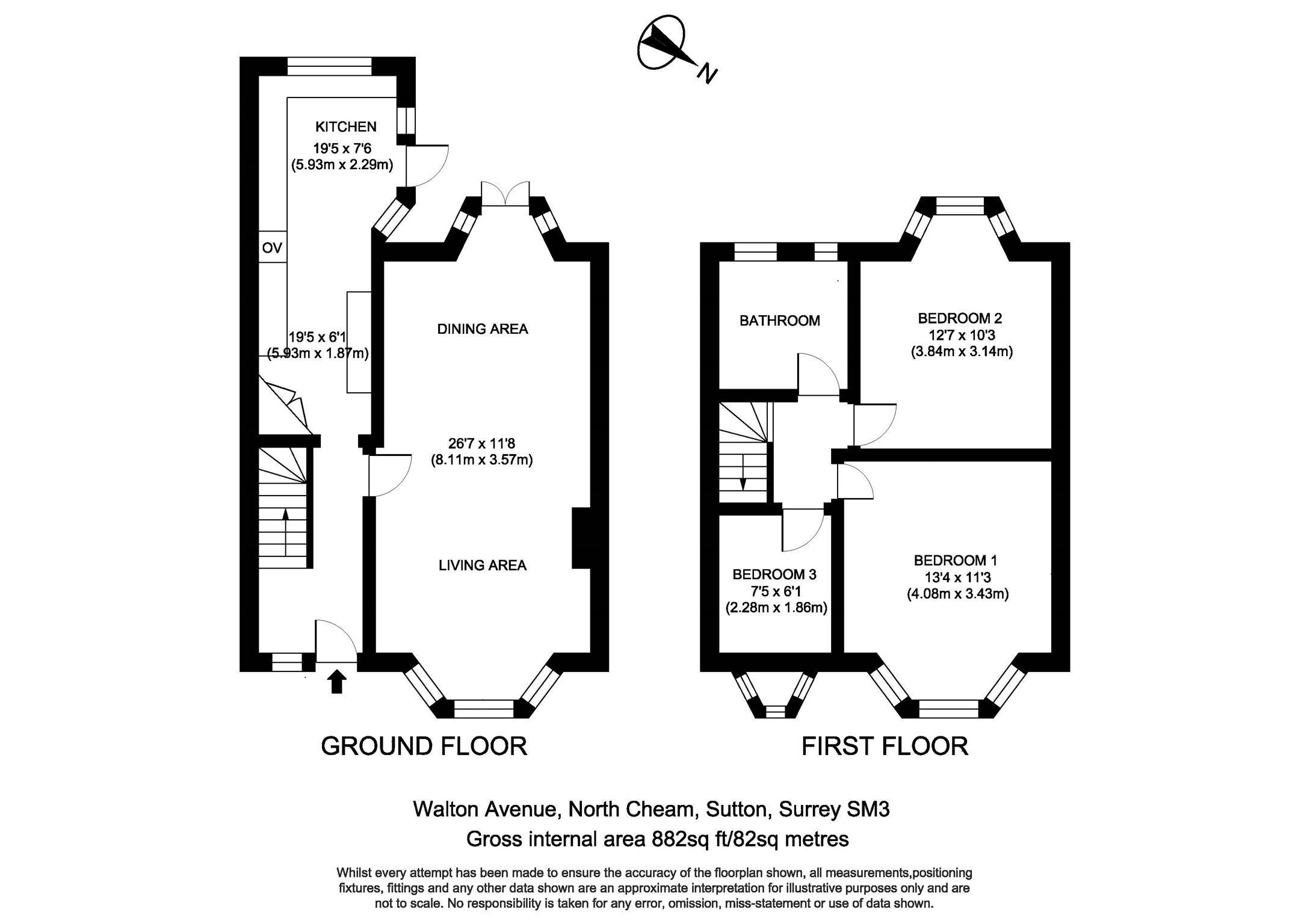Walton Avenue, North Cheam, Surrey SM3, 3 Bedroom Terraced