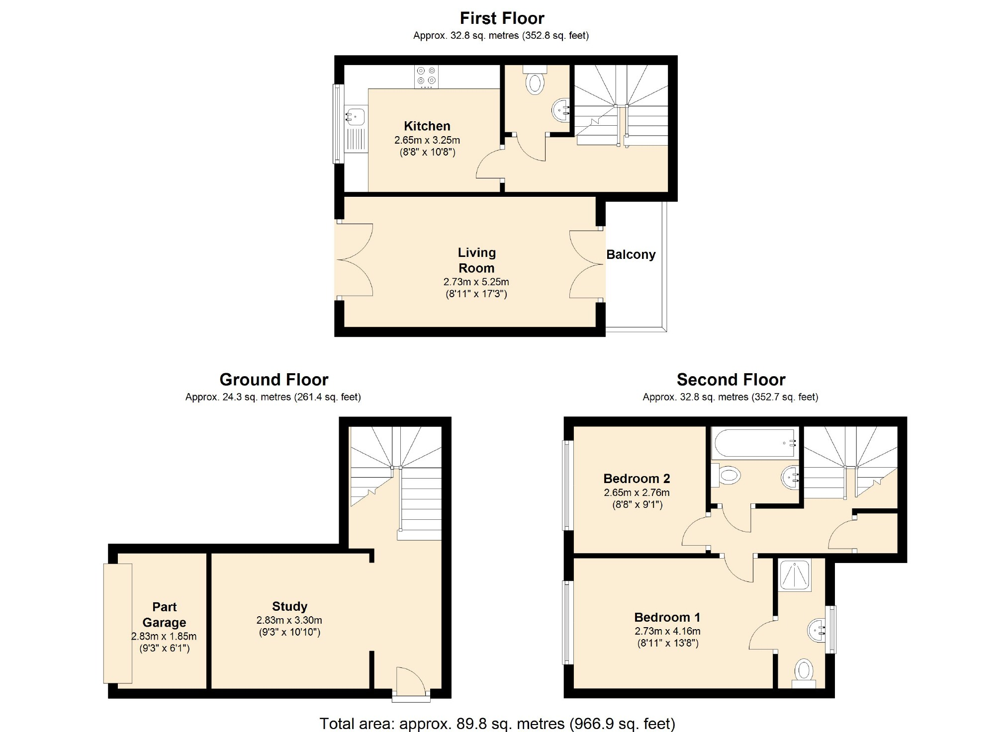 Knole Close Redhouse Wiltshire SN25 2 bedroom semidetached house – Knole House Floor Plan