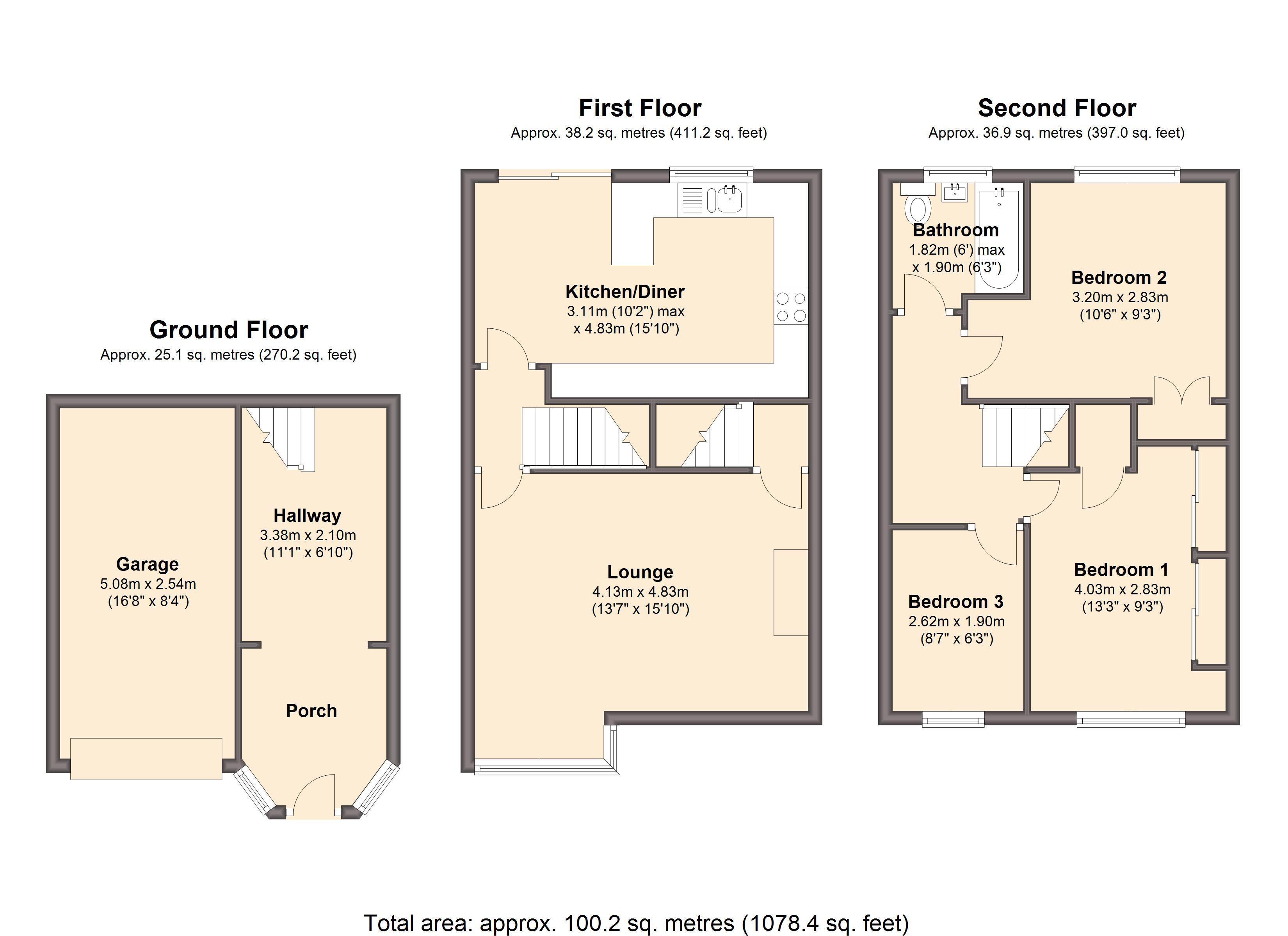 Littlewood drive sheffield s12 3 bedroom town house for for Sheffield floor plan