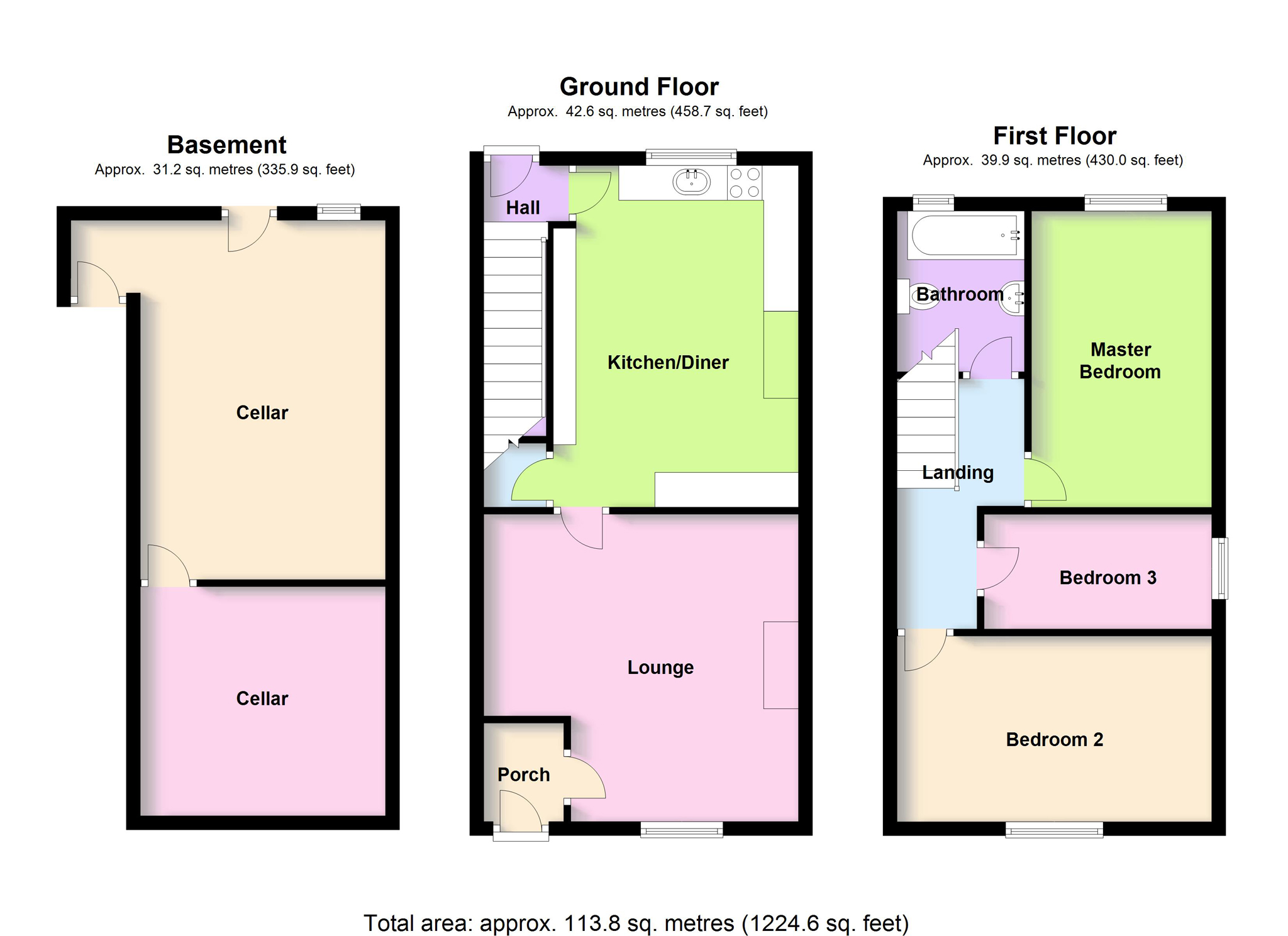 3 bed end terrace house for sale in mill lane hanging for 16 brookers lane floor plans