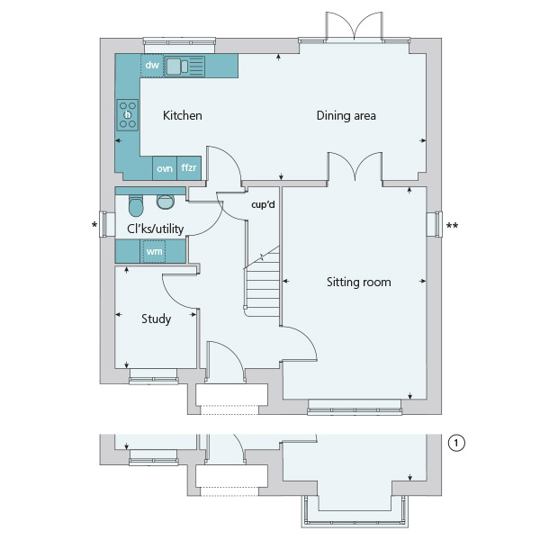 The lydiard at blunsdon swindon sn26 4 bedroom for Trademark quality homes floor plans