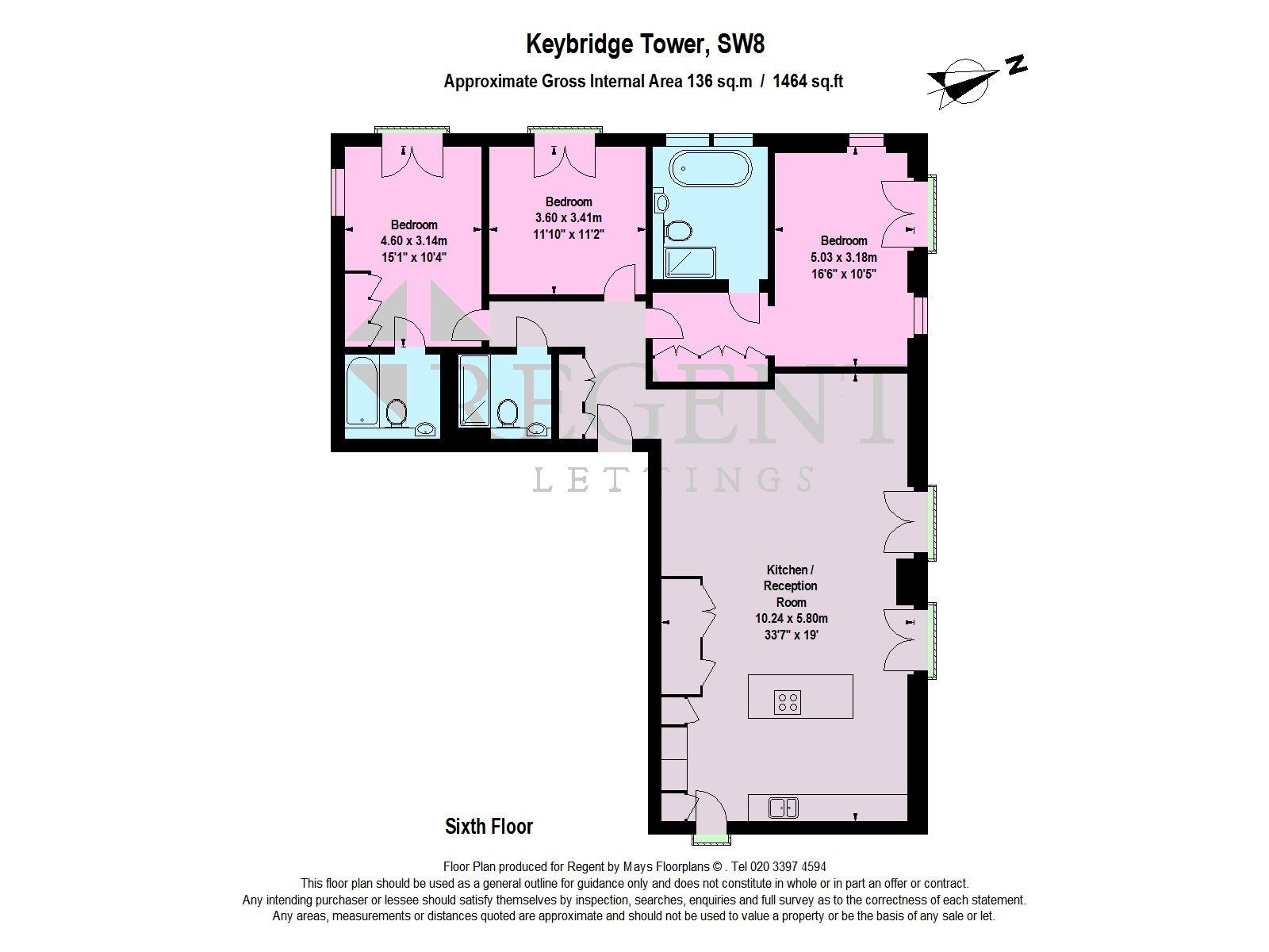3 Bed Flat To Rent In Keybridge Tower 6 Exchange Gardens Sw8 Zoopla Diagram Sixth Floor Layout Floorplan 1