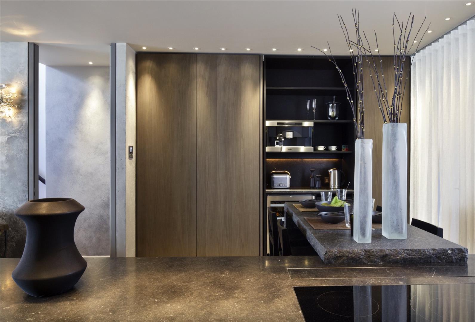 Minotti Gandhara Kitchen Black Matt Lacquer Stained Birch Tall Simple Kitchen Floor Designs Decorating Design