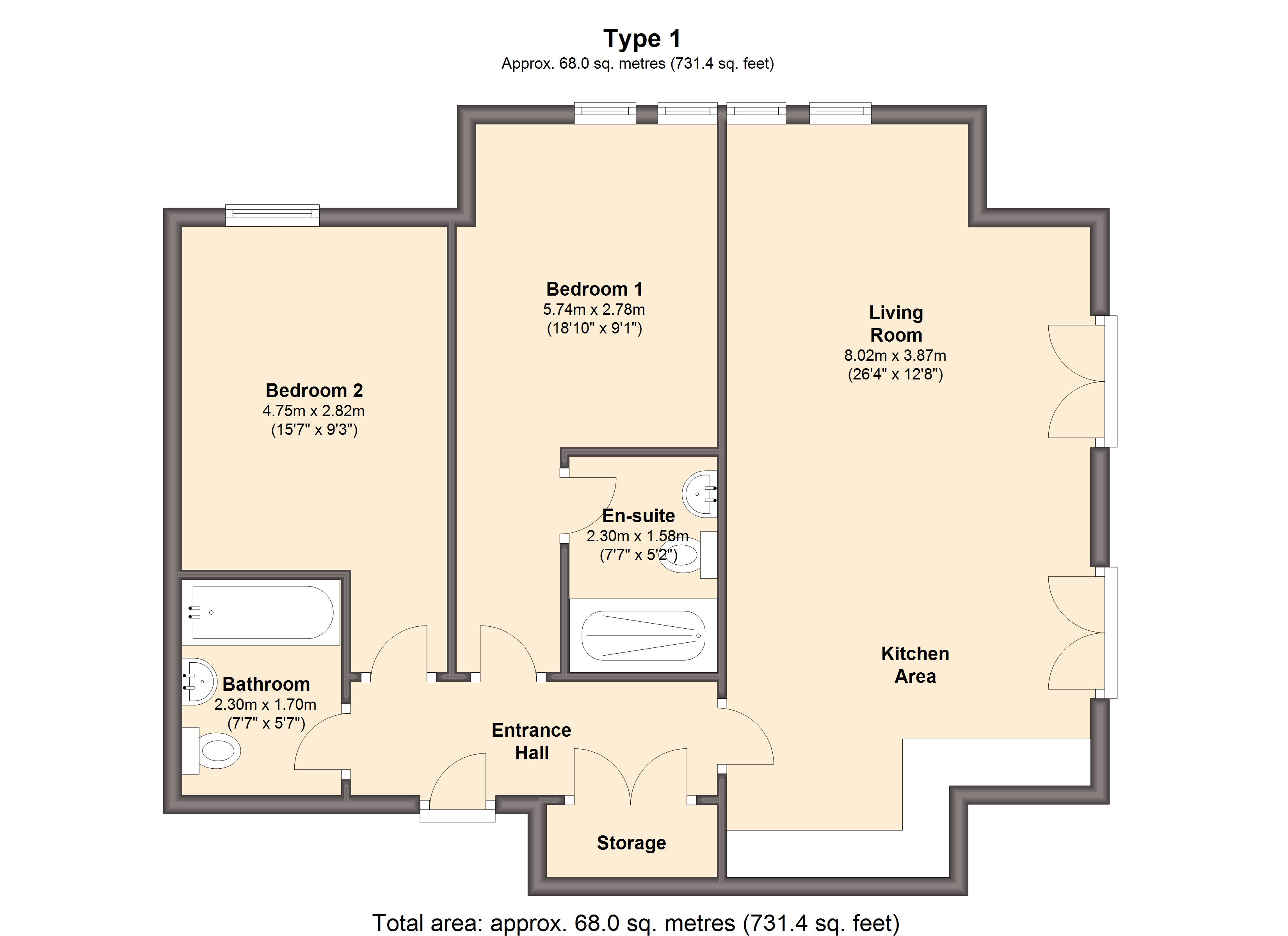 2 bed flat for sale in abbeydale road south sheffield s7 for Sheffield floor plan