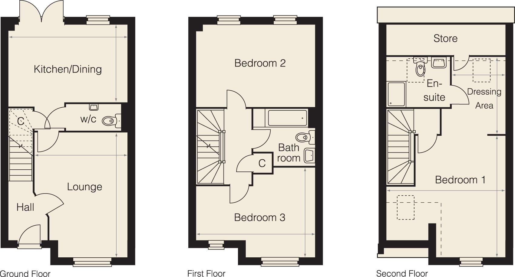 Plan Dressing En U jubilee street, sittingbourne me10, 3 bedroom terraced house