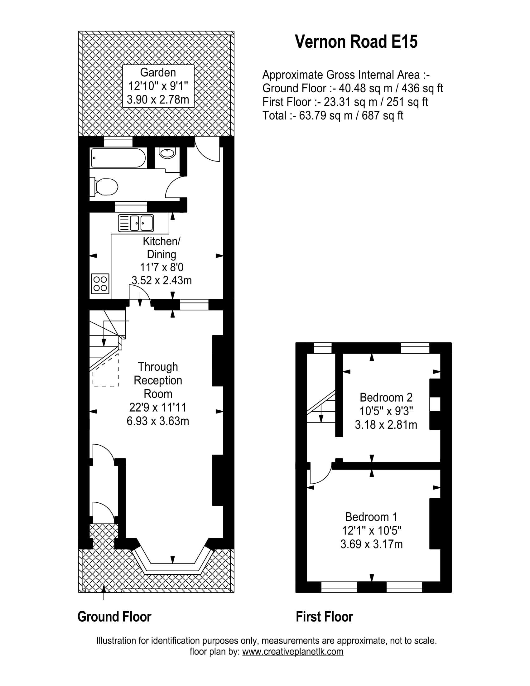 Vernon Road Stratford E15 2 Bedroom Terraced House For