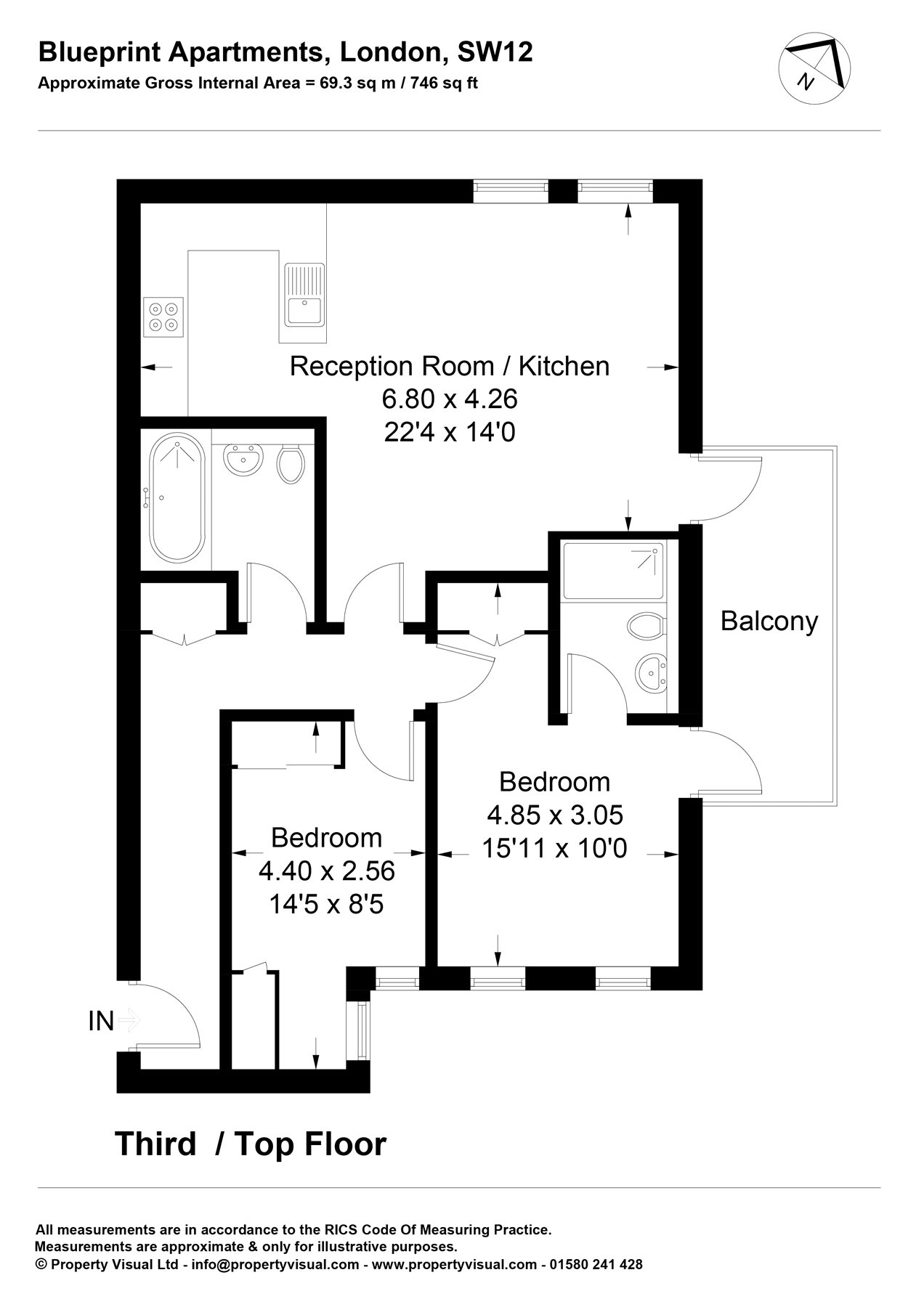 Blueprint apartments 16 balham grove london sw12 2 bedroom flat floorplan view original malvernweather Images