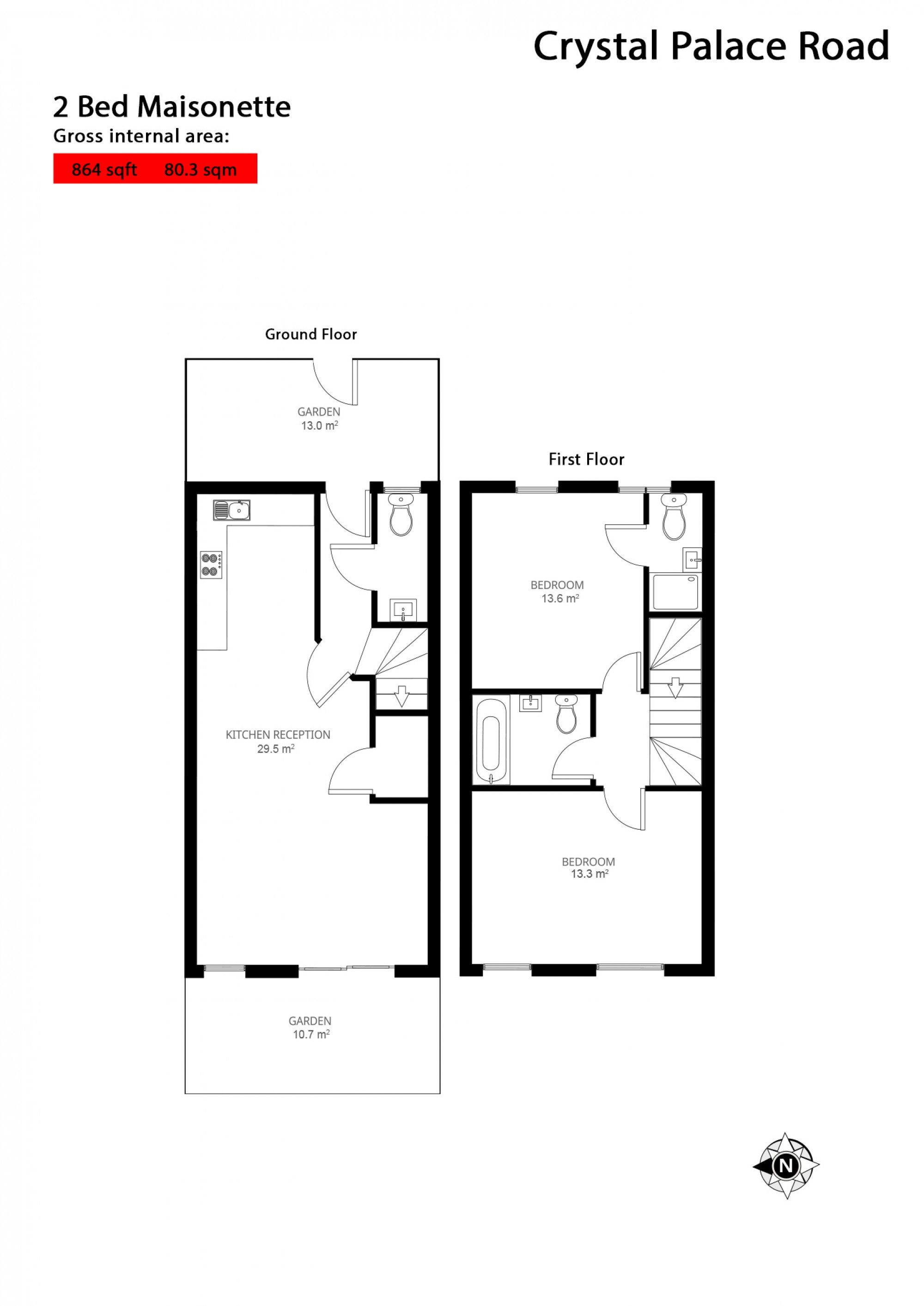 Crystal palace road apartment 1 london london se22 2 for Apartment floor plans london