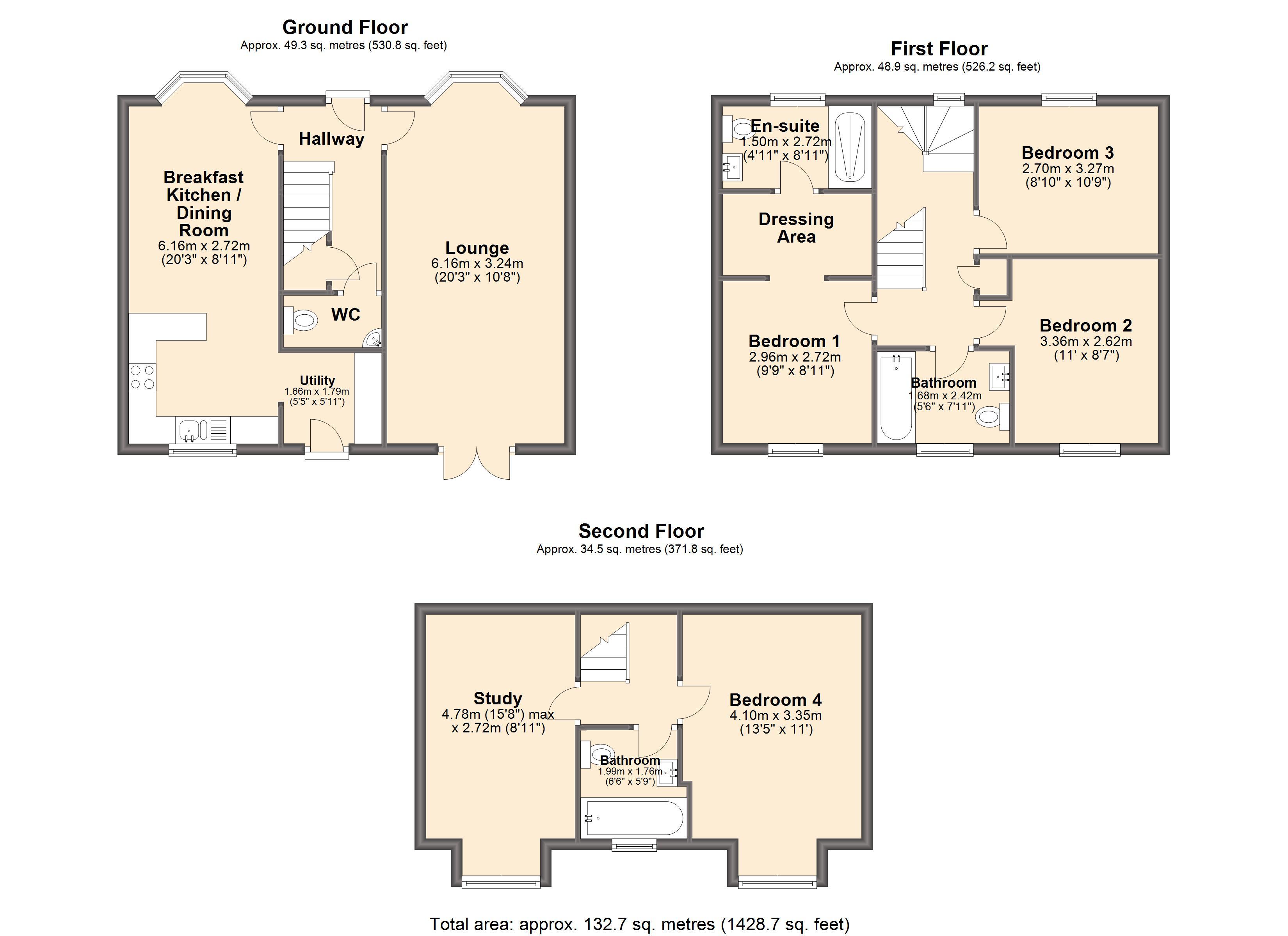 Plan Dressing En U serlby lane, harthill, sheffield s26, 4 bedroom detached