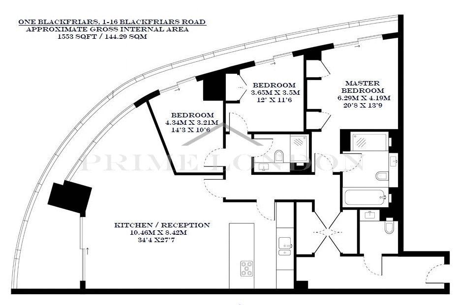 3 Bedrooms Flat for sale in One Blackfriars, 1-16 Blackfriars Road, Bankside SE1