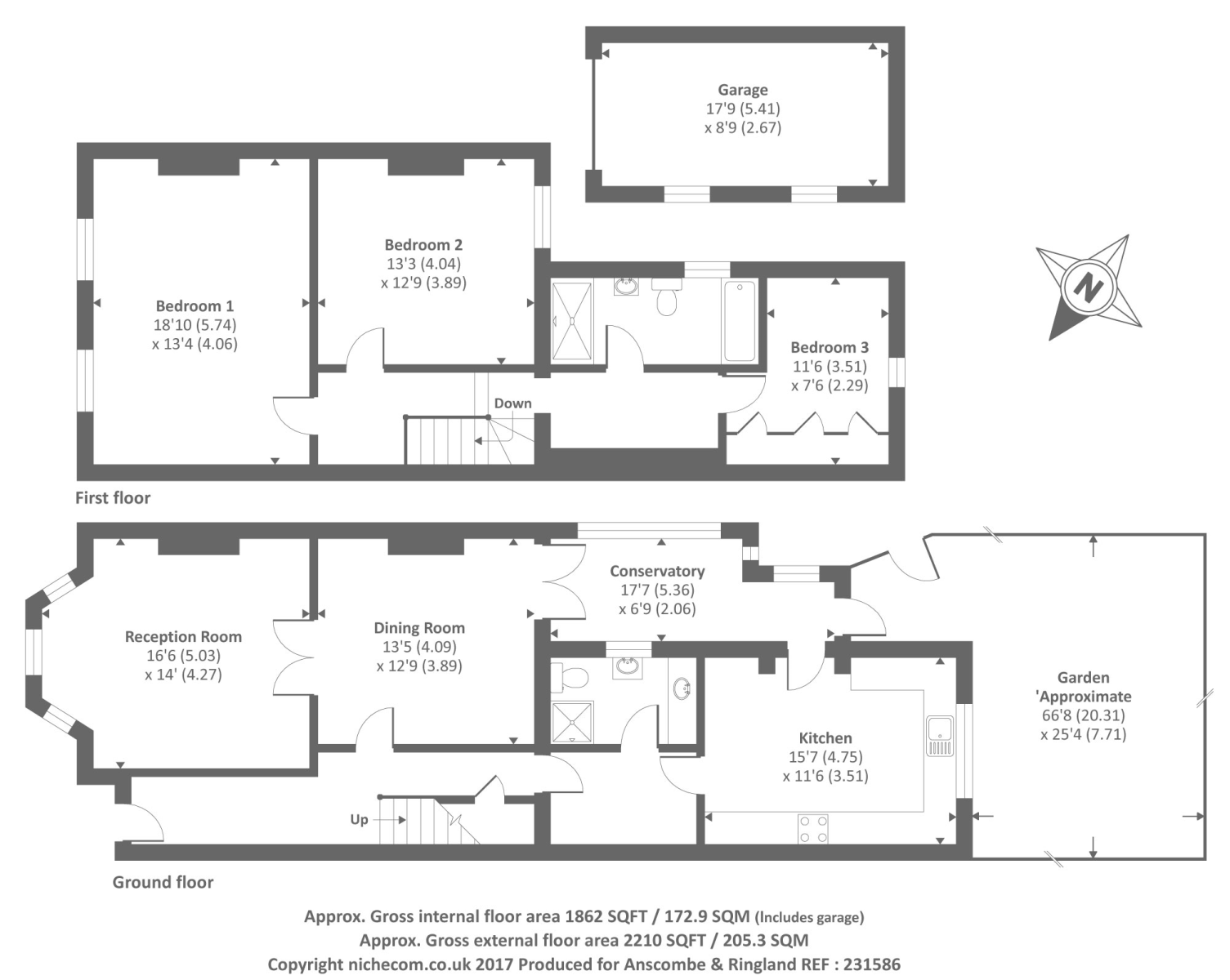 Long lane london n3 finchley central 3 bedroom semi for 16 brookers lane floor plans