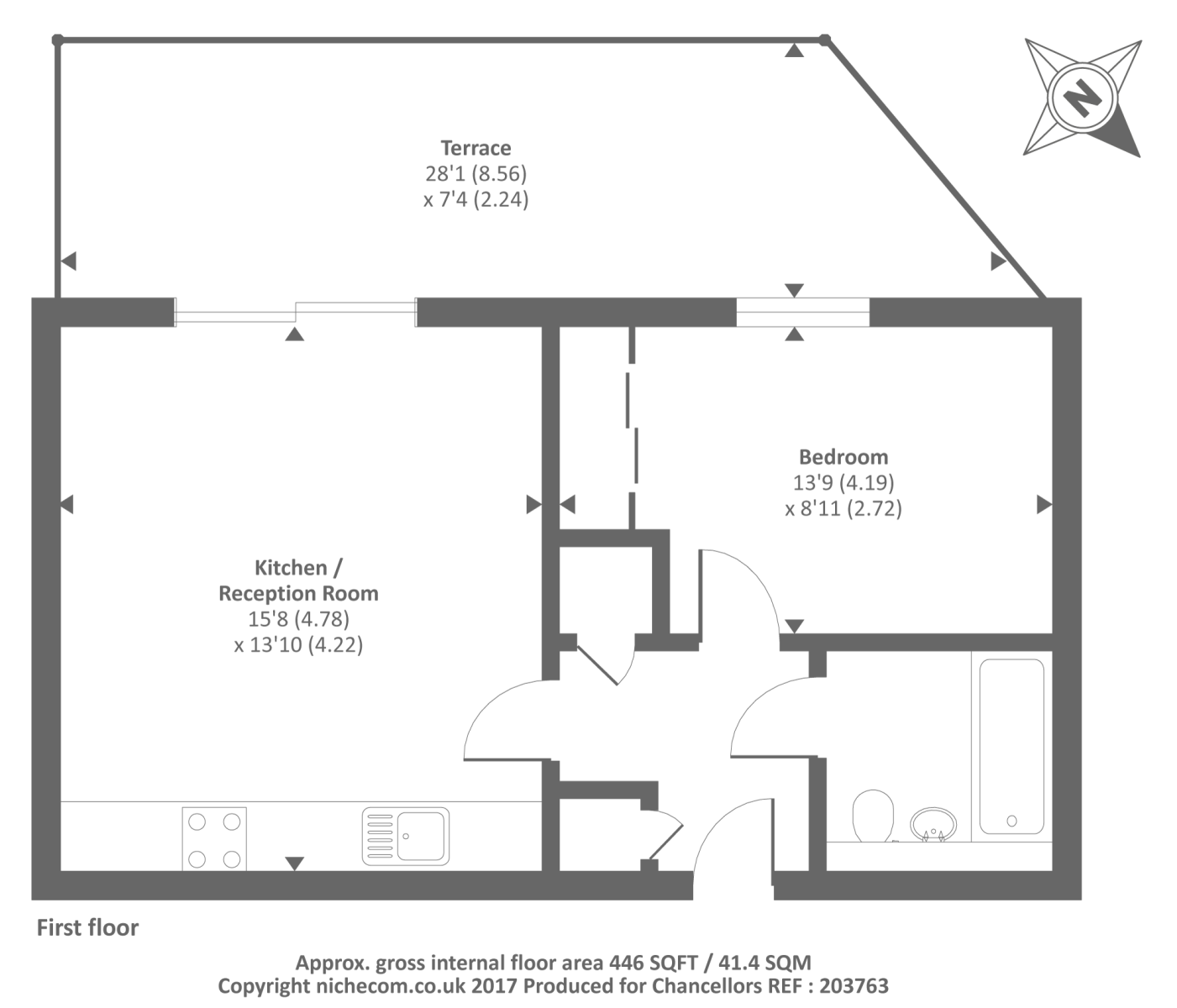 Nightingale house reading rg2 1 bedroom flat for sale for Reading a floor plan