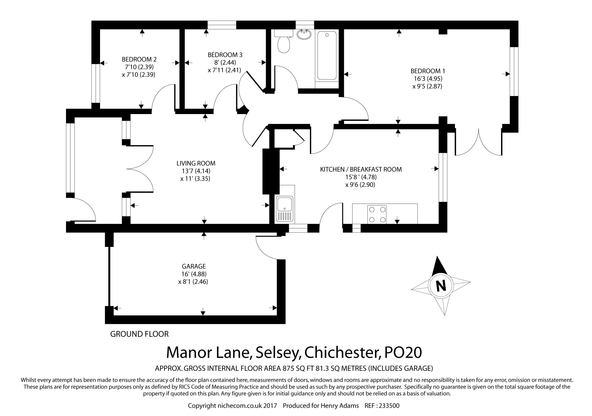 Manor Lane Selsey Po20 3 Bedroom Detached Bungalow For
