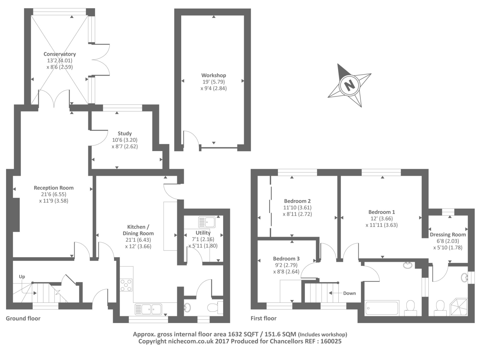 Compton close earley reading rg6 3 bedroom semi for Reading a floor plan