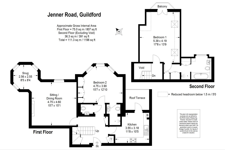 Turret House 1 Jenner Road Guildford Surrey GU1 2 bedroom flat