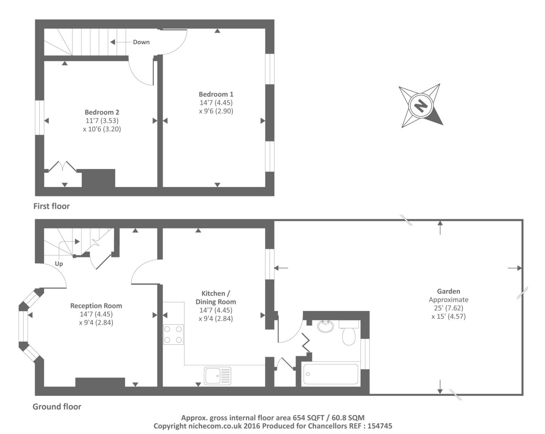 Howard street oxford ox4 2 bedroom terraced house for for Oxford floor plan