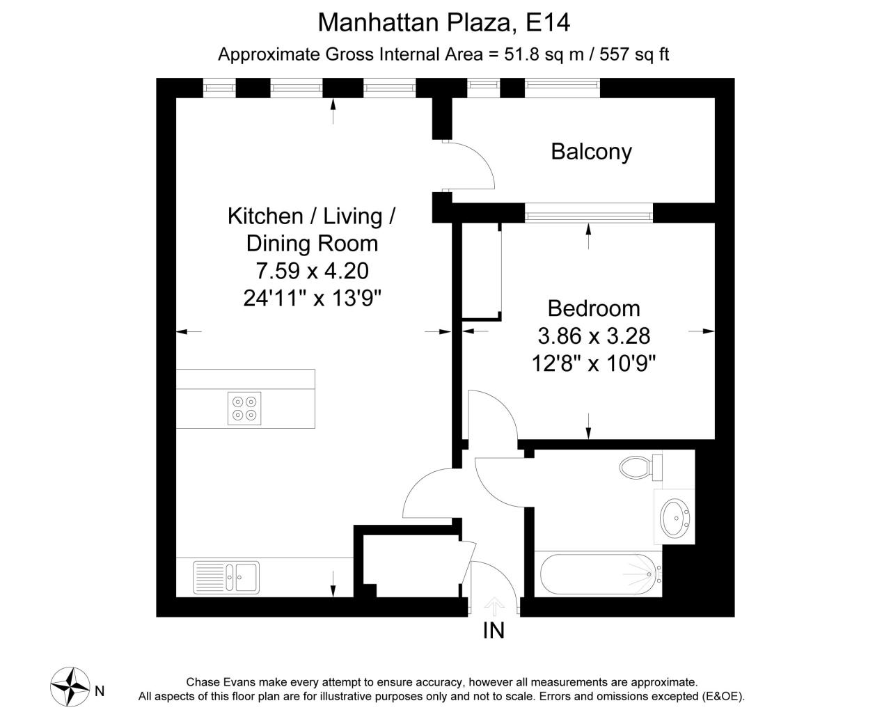 Manhattan Plaza, Canary Wharf, London E14, 1 Bedroom Flat