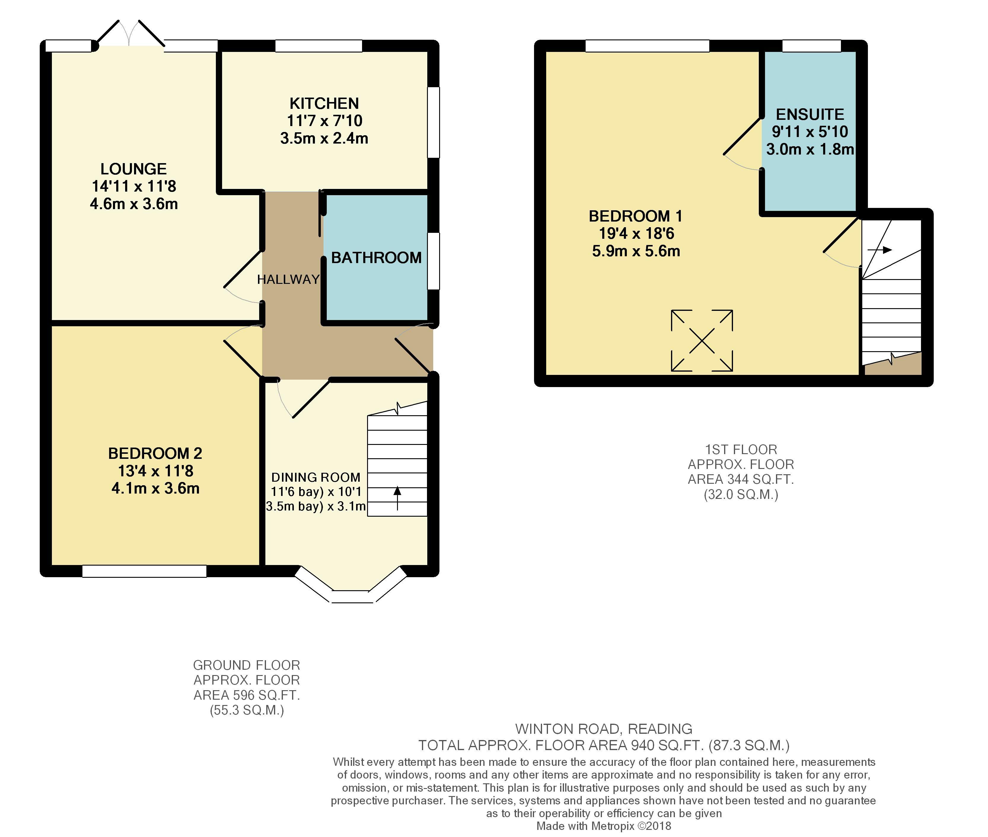Winton road reading rg2 2 bedroom semi detached bungalow for Reading a floor plan