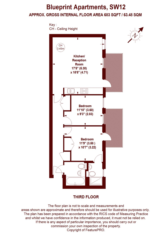 Blueprint apartments 16 balham grove london sw12 2 bedroom flat floorplan view original malvernweather Gallery