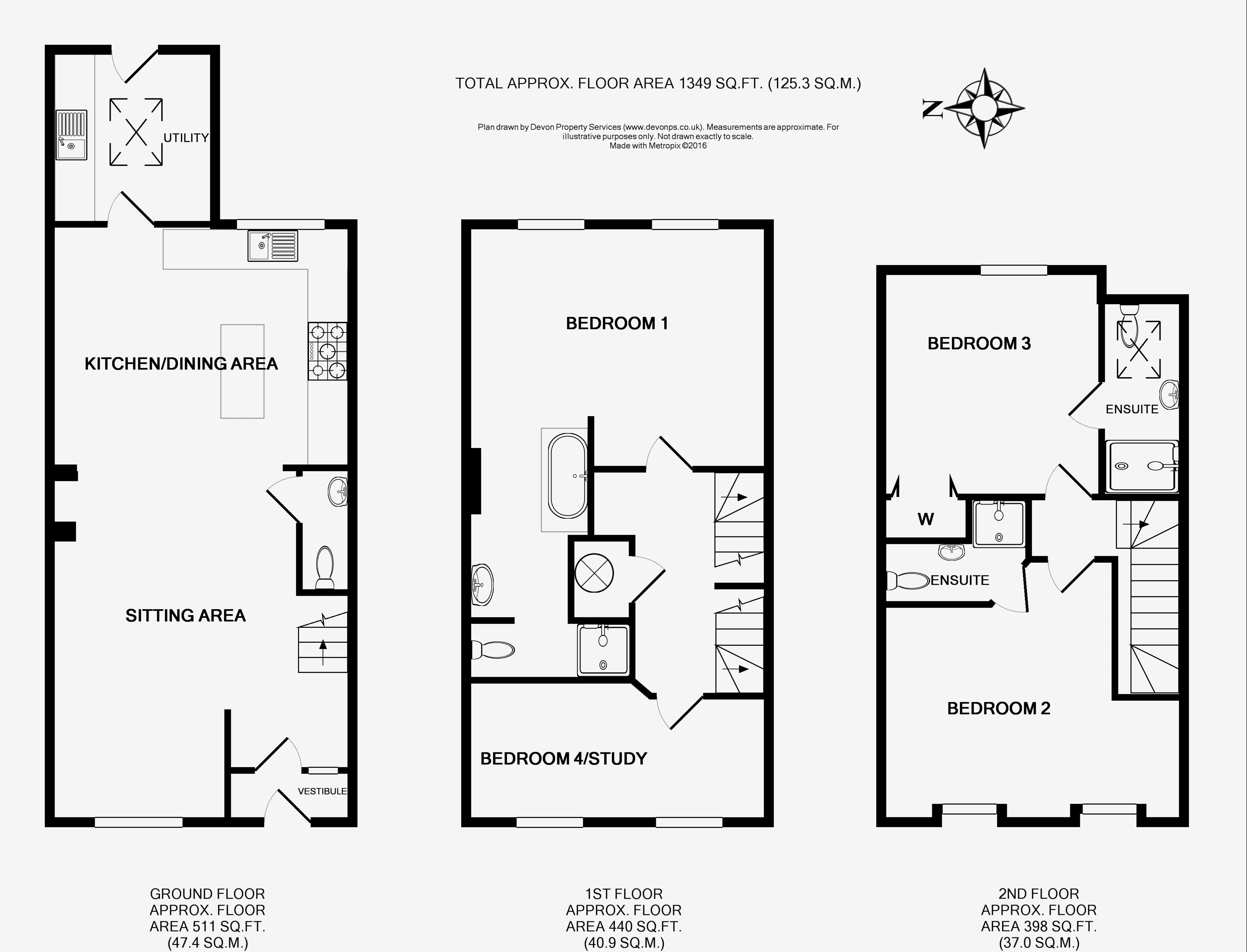 4 bed terraced house to rent in betton way for Plan betton