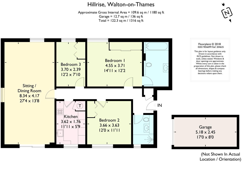 3 Bedrooms Flat for sale in Hillrise, Walton-On-Thames, Surrey KT12