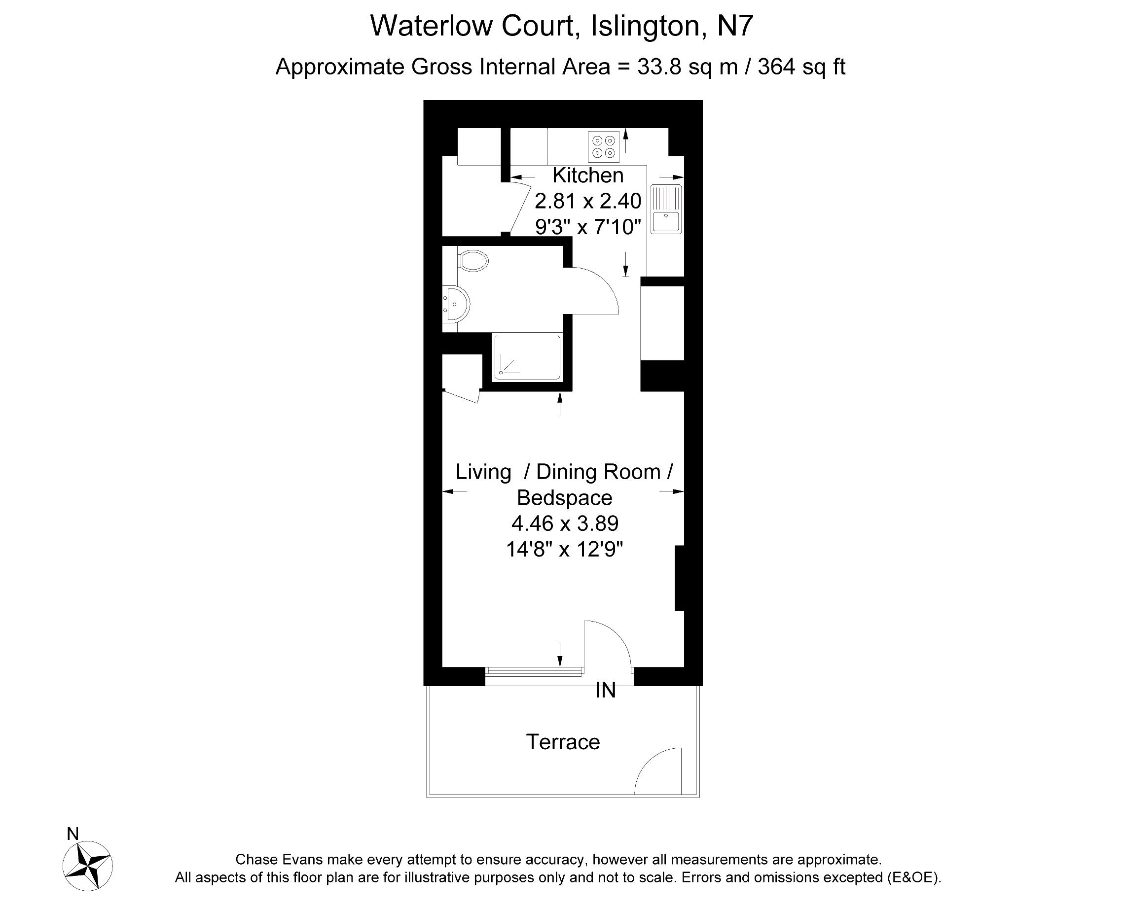 Studio to rent in queensland terrace waterlow court for Queensland terrace