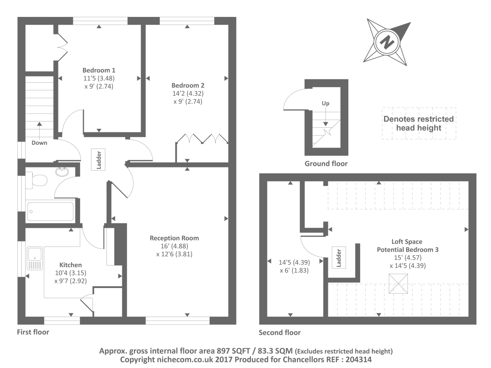 Gatwick Airport Floor Plan Cedar Way Sunbury On Thames Tw16 2 Bedroom Maisonette