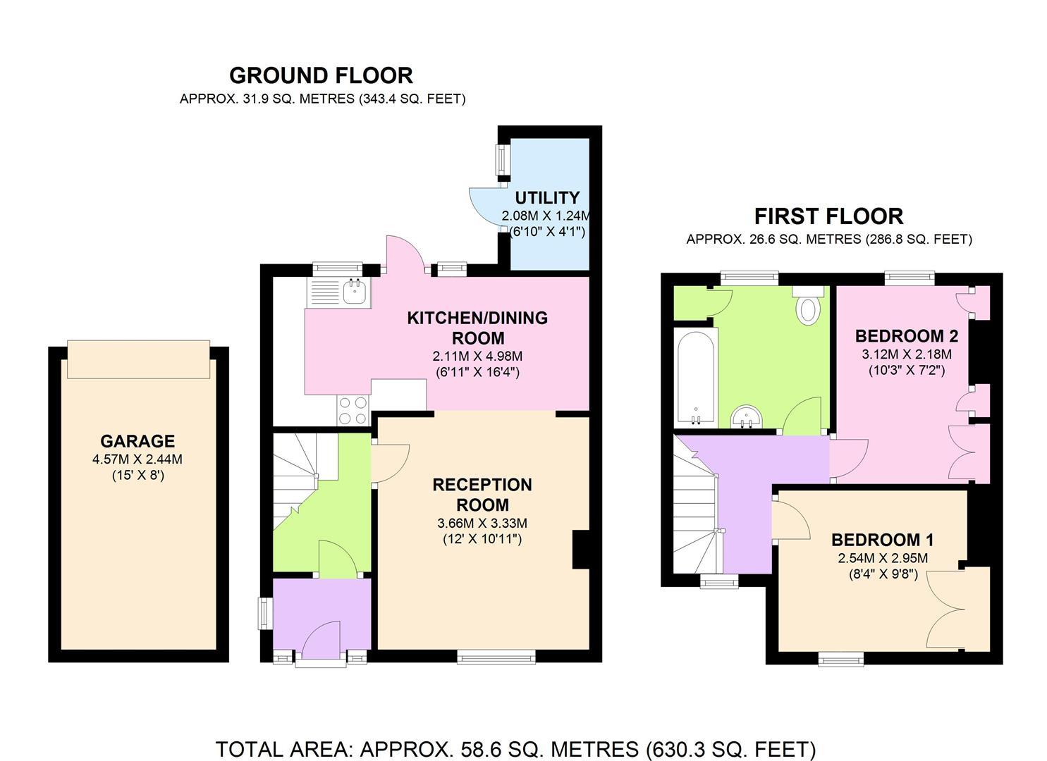 Carters road epsom kt17 2 bedroom semi detached house for 2b cuisine epsom downs
