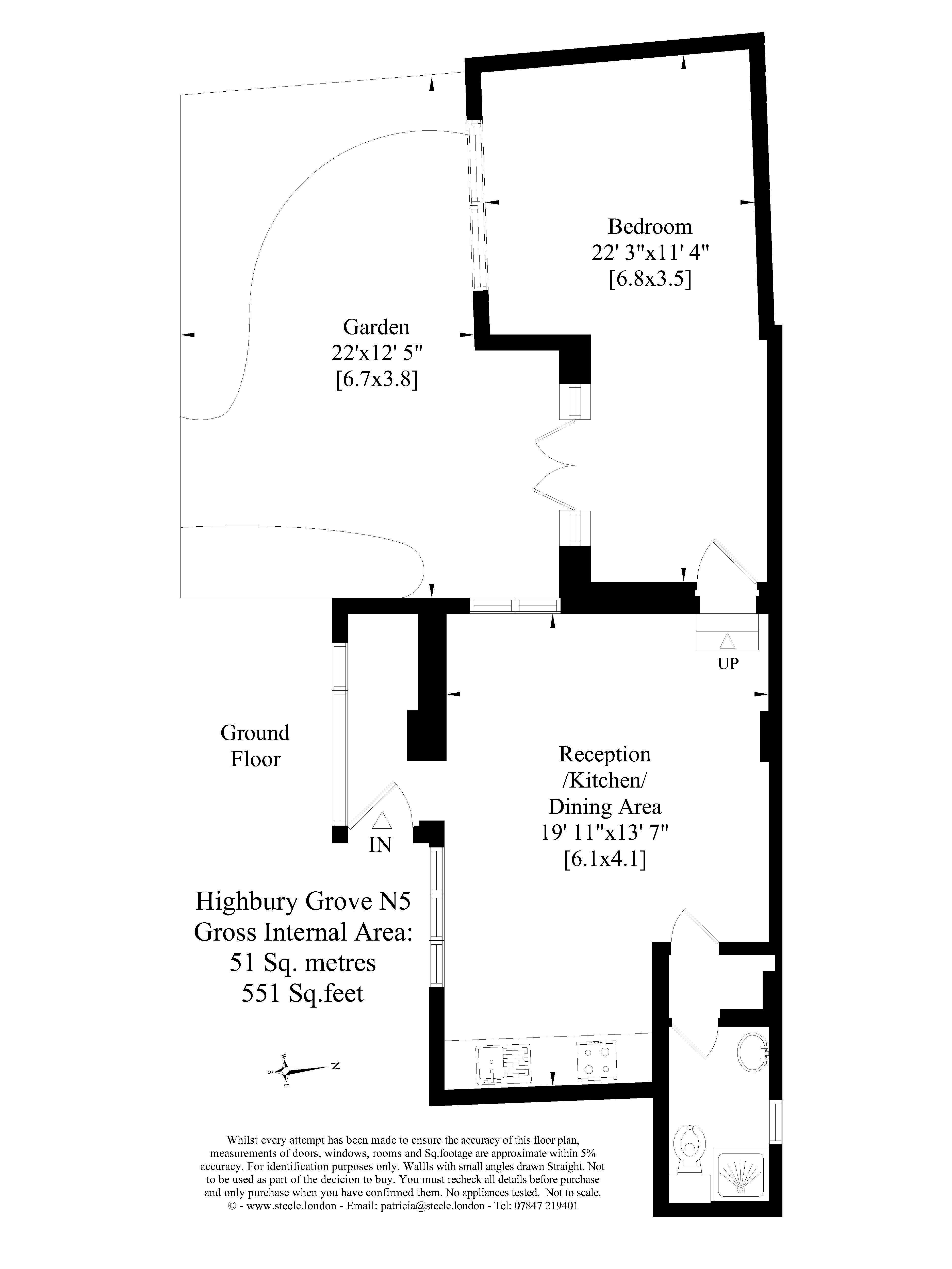 1 Bedrooms Terraced bungalow to rent in Highbury Grove, London N5